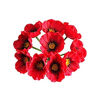 richera 12 pcs Real Touch PU/diseño de amapolas de látex, alta quaulity Fresh Poppy Flores Artificiales para Bodas vacaciones Bouquet Home Party Decor Ramos de dama