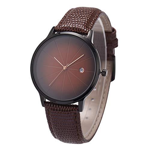 Armbanduhr ultradünne minimalistische Eidechse Korn echtes Leder SIBOSUN braune Männer Quarz Datum Kalender -