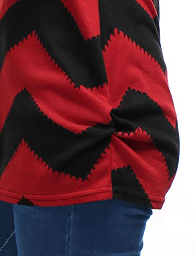 Allergra K Damen Zickzackmuster Trikot lose Casual Tunika Hemd Pullover Schwarz Rot