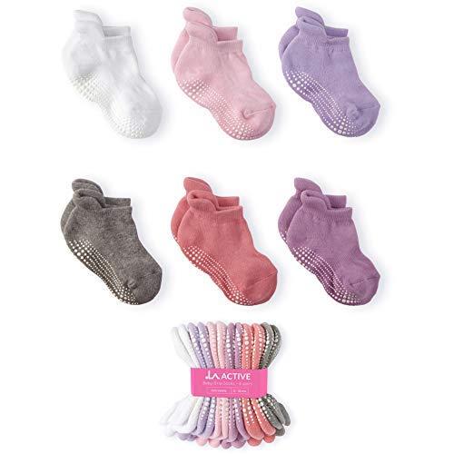 LA Active Baby Kleinkind Grip Knöchelsocken - 6 Paar - rutschfest (Mädchen, 12-36 Monate) - Schuhe Kinder Baby