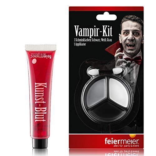 PartyMarty Vampir Dracula Schmink Set: Filmblut Kunstblut Vampierblut 30ml & 3 Dracula Schminkfarben (Halloween 30 Make-up Zweites)