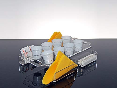 Slato vassoio porta bicchieri da caffè, zucchero, tovaglioli e palette per bar e uffici in plexiglass trasparente larix