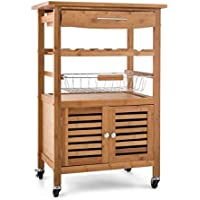 Portable Natural Bamboo Wooden Kitchen Trolley Basket Cabinet Storage Organiser Cart Rack Wheels