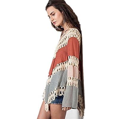 Geniales Parei Abdeckung Bikini Floral Spitze mit V-Ausschnitt Tunika Summer Beach Strand Bikini Swimwear Cover-Baumwolle Einheitsgröße