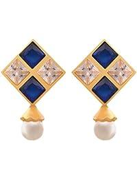 JFL - Traditional Ethnic One Gram Gold Plated Stones American Diamonds Designer Stud Earrings For Women & Girls.