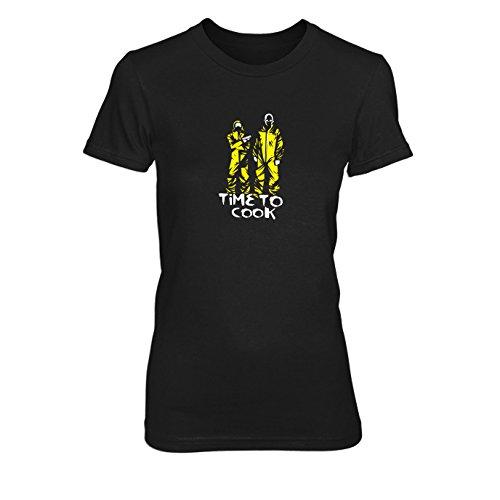 Time to Cook - Damen T-Shirt, Größe: XL, Farbe: (Kostüm Breaking Bad Maske)