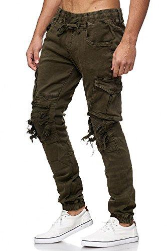 MEGASTYL One Public Männer Herren Cargo Taschen Jeans-Hose Olivgrün, schwarz,  braun, ...