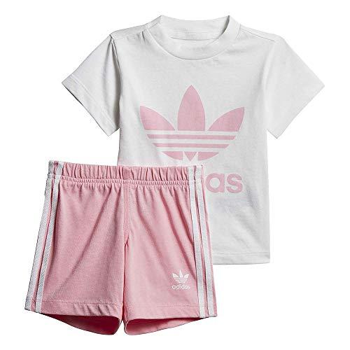 adidas Baby Trefoil Shorts Und T-Shirt Set, Top:White/Light Bottom:Light Pink/White, 98 -