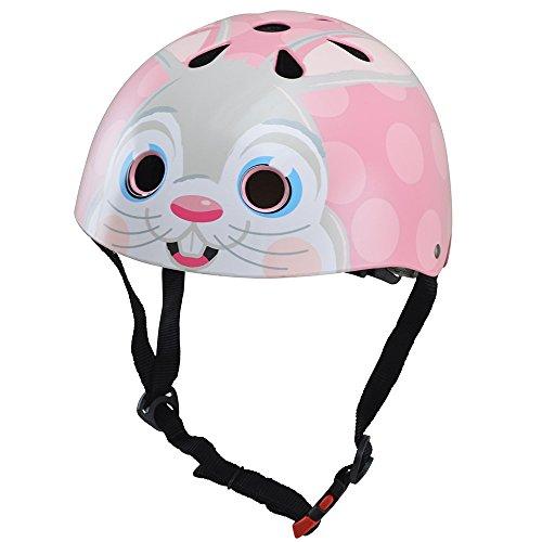Kiddimoto Kids Fully Adjustable Helmet for Cycling/Scooter/Balance Bike/Skateboard - Pink Bunny - Medium (53-58cm)