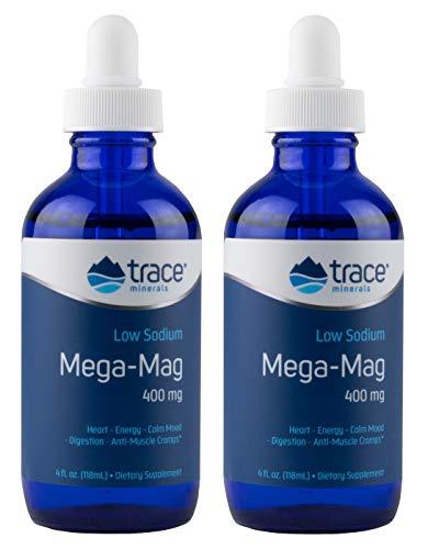 Trace Minerals Research | Mega-Mag | natürliches ionisches Magnesium mit Spurenelementen | 400 mg | 4 fl oz (118 ml) | vegan und glutenfrei | 2er-Pack