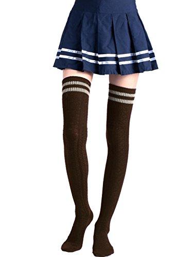 Schenkel-hoher Kaffee Strumpf (Jelinda Frauen Mädchen Strick häkeln über Knie Schenkel hoch Strümpfe Socken (Kaffee))