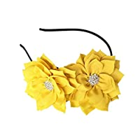Coolwife Fascinator Headband Hair Clip Lotus Flower Bridal Headpieces Wedding Party Headwear - Yellow -