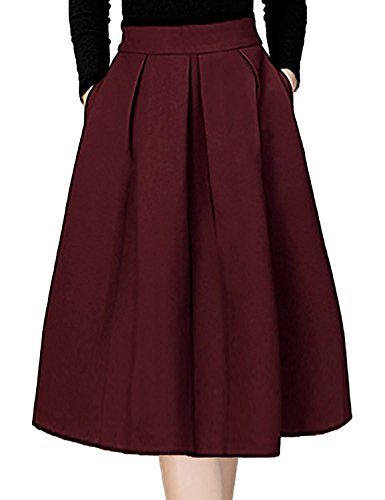 Omela Faltenrock Damen Knielang Scuba Rock Winterrock mit Taschen Elegant Glockenrock Weinrot