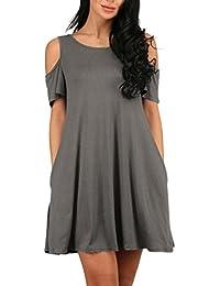 Damen Sommerkleider Kurz Für Mollige Festlich Elegant Strandkleid A Linie Rüschen  Rückenfrei Kleid Normallacks Kurzarm Casual 8559350ab7
