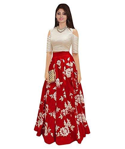 Nine Street Store Women'S Silk Lehenga Choli (Nss Aaros_Red_Free Size)
