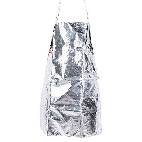 Aluminiumfolie Schürze, Silber Hitzebeständige Isolierung Schutz Arbeitsschürze mit Taschen für Barbecue Kochen Spritzwassergeschützte Bekleidung Sicherheitsmantel