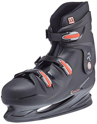 Nijdam Herren Eishockeyschlittschuhe Hardboot, Schwarz/Rot, 49, 1012369