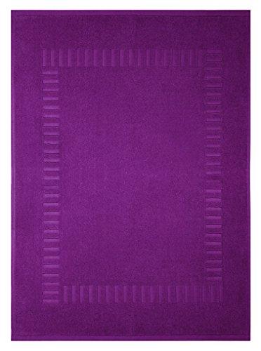 Lashuma Badvorleger Badvorleger lila - brombeer | moderner saugstarker Duschteppich | 50 x 70 cm
