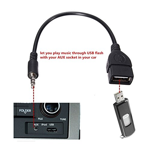 Leaftree USB Buchse auf 3,5 MM U-Disk-Anschluss Auto CD-Maschine Aux Car Audio Kabel, Schwarz (Kabel Für Car Audio)