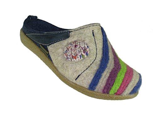 Haflinger Schuhe Damen Herren Hausschuhe Pantoffeln Wolle Blizzard Arte 738013 ((072) jeans)