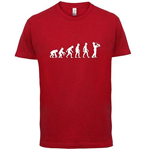 Evolution of Man - Saxofonspieler - Herren T-Shirt - 10 Farben Rot