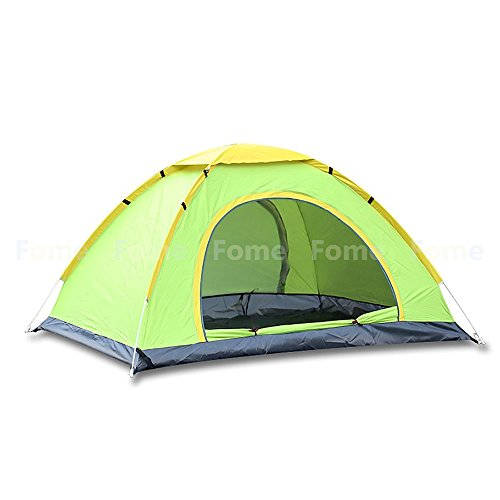 Tenda automatica, FOME sports|outdoors 2/3/4 Persona 180T poliestere portatile impermeabile resistente automatico e istantanea configurazione Tenda a cupola tenda Pop Up per backpacking campeggio e Hiking, Green, 3-4 Person