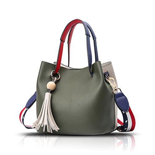 Tisdaini Damen Handtasche Mode Eimer Tasche schlagen die Schulter Farbe Schulter Messenger Tasche Farbe Geldbörse (Tasche Handtasche Eimer)