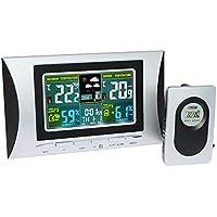 H102G Inalámbrico Multiuso Pantalla LCD Colorida Reloj Despertador Digital Estación Meteorológica Termómetro Interior Pronóstico del Tiempo