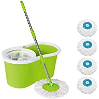 HISCIN Mop Floor Cleaner with Bucket Set Offer with Big Wheels for Best 360 Degree Easy Magic Cleaning, 4 Microfiber (Colour May Vary)(Pack-1)
