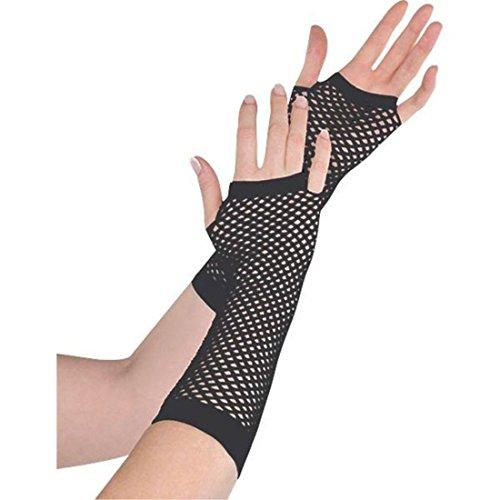 Fischnetz-Handschuhe, halbfinger, als Ergänzung des Party-Outfits, Schwarz