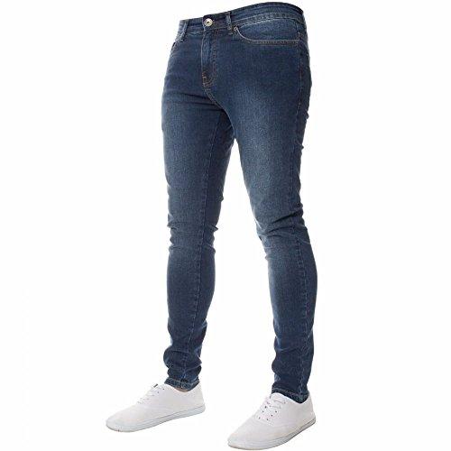 Neue Enzo Mens Designer Stretch Super Skinny-Jeans Jeans Mitte Stonewash W32- L32 (Pocket Jean Skinny Leg)
