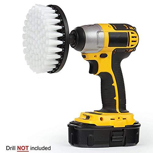Drill Brush - Medium Steifheit Borsten Attachment Scrubber Cleaning Kit für Küche Badezimmer Oberflächen Fliesen Duschen Fliesen Teppichboden (White)