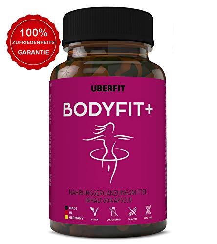 UberFit BODYFIT+ Natürlicher Stoffwechsel Komplex - Gesund abnehmen mit Garcinia Cambogia, Guarana, Weiße Kidneybohnen, Chlorella, Grüner Kaffee, Ginseng uvm - 60 Kapseln Vegan -