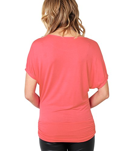 KRISP® Damen Shirt mit Halskette Fledermausärmel Top Koralle 3899