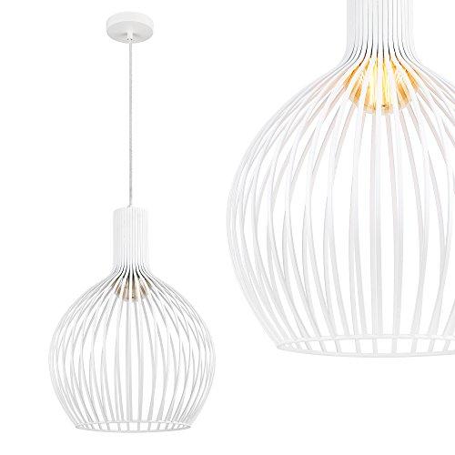 [lux.pro] Lámpara Colgante Moderna Blanca diseño Industrial - Metal - Pantalla (Al x An): 49 x 36,5 cm Aprox.