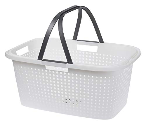 Spetebo Wäschekorb weiß im modernen Design - Wäschesammler aus Kunststoff - Aufbewahrungskorb mit Griffen Wäschewanne