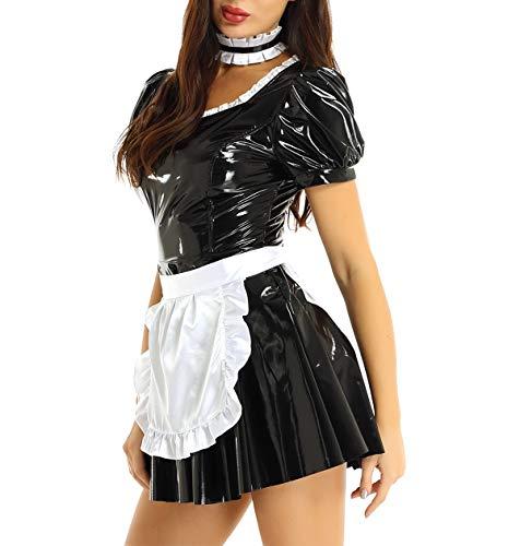 YiZYiF 3 Stück Dienstmädchen Kostüm Damen Wetlook Leder Minikleid A-Linie Kleid French Maid Uniform Outfit Clubwear mit Schürze, Halsband Schwarz Small