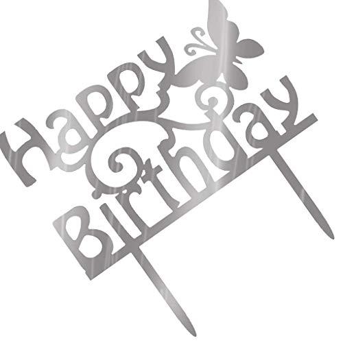 Lorsoul Quadrat Rund Alles Gute zum Geburtstag Brief-Kuchen-Deckel Acryl DIY Kuchen-Kuchen-Smash-Kerze-Partei-Handgemachte Stick - Silber