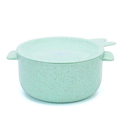 ftxj Weizen Stroh Faser Kunststoff Schale mit Griffen und süße Gerichte Deckel, gut für Reis, Suppe, Salat, Ramen, Nudeln grün