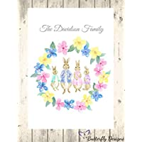 Personalised Watercolour Peter Rabbit Family A4 PRINT (NO FRAME) Picture Design P1