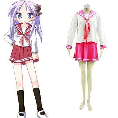 Cosplay Konata Kostüm Izumi - Sunkee Lucky Star Cosplay, Izumi Konata Red Uniform, Größe S: Höhe (150cm-160cm), Gewicht 90-100 Pfund (40-45 kg)