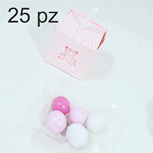 25 pezzi scatolina scatola portaconfetti con cordoncino bomboniere segnaposto regalo per inviti festa battesimo nascita (rosa) + confetti