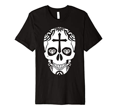 baadadb8208 Sugar Skull Diamond Eyes T-Shirt Calavera Mexican Gift Tee