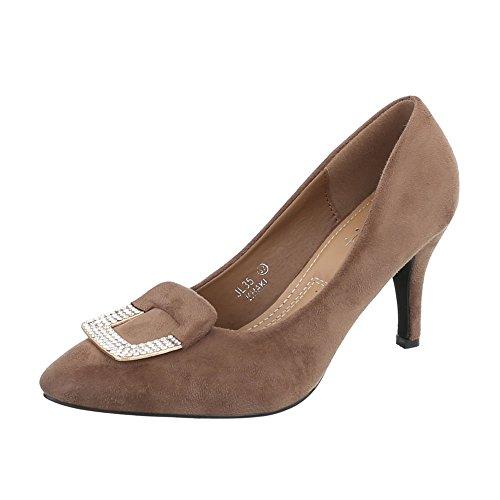 Ital-Design High Heel Pumps Damen-Schuhe High Heel Pumps Pfennig-/Stilettoabsatz High Heels Pumps Hellbraun, Gr 39, Jl35-
