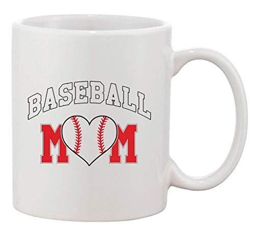 Baseball Mom Heart Sports Team Bat Ball Fan Novelty DT Ceramic White Coffee Mug -