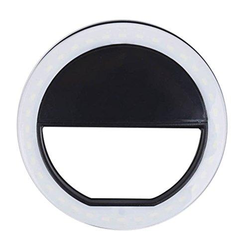 Hemobllo Selfie Flash-LED-Telefon Kamera Fotografie Ringlicht für iPhone Android-Handy (schwarz)
