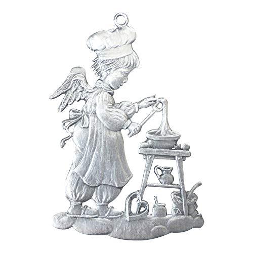 Zinngeschenke Engel in der Bäckerei von Hand patiniert aus Zinn (HxB) 7,0 x 5,0 cm, Christbaumschmuck, weihnachtlicher Zierschmuck