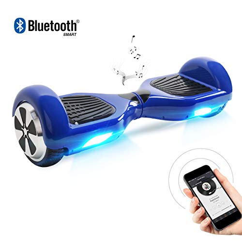 Zweirad E-Board (Hoverboard) - Hoverboard, 6.5 Zoll Self Balancing Scooter mit Bluetooth Lautsprecher - Tragetasche - LED Lights Elektro Scooter (Blue)