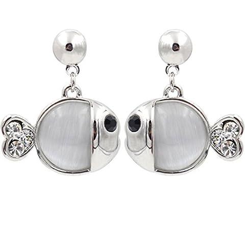 Totorofoet Zodiac Pisces/Poisson s'embrassant avec queue de cœur d'oreille à tige/Boucles d'oreilles plaqué argent sterling 925--