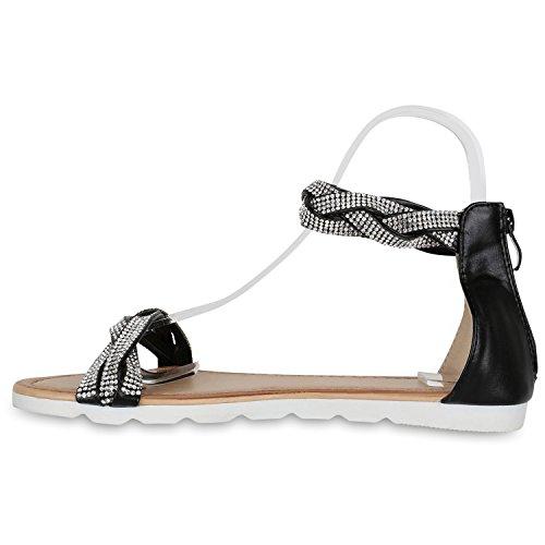 Damen Komfort-Sandalen Metallic Sandale Bequemschuh Profilsohle Schwarz Steinchen Camiri
